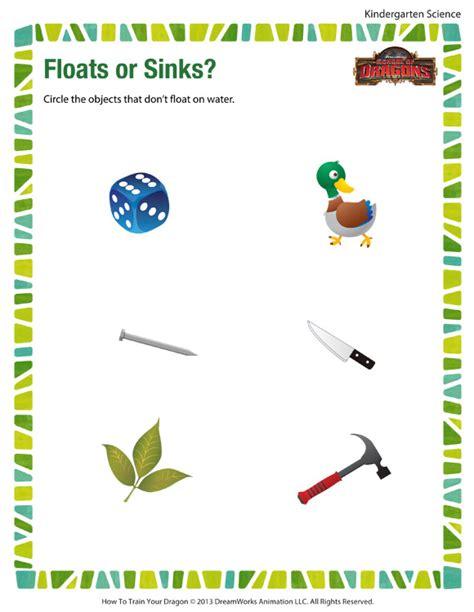 floats or sinks worksheet free kindergarten science