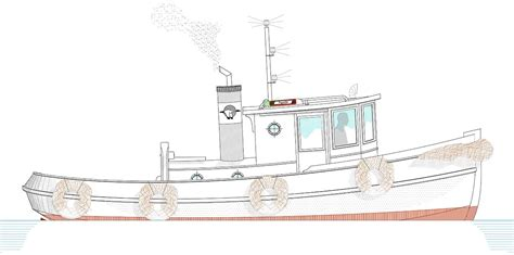 Mini Boat Drawing by Tugboat Devlin Designing Boat Builders
