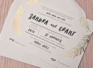 Foliage gold foil wedding invitation papermarc for Foil wedding invitations melbourne
