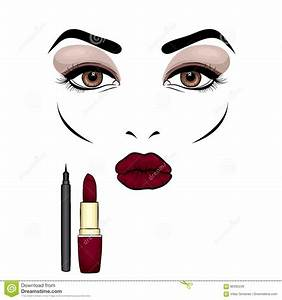 Beautiful Woman`s Face With Makeup. Eyes And Lips ...