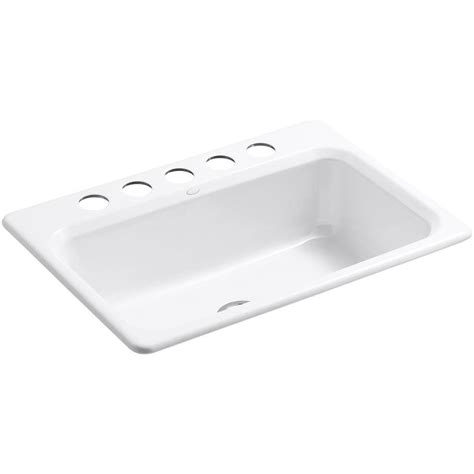 white single bowl kitchen sink kohler bakersfield undermount cast iron 31 in 5 hole