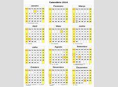 Calendário 2014 para Imprimir Todos Jundos Pela Educação