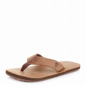 Mens Reef Leather Smoothy Bronze Brown Flip Flops Sandals ...