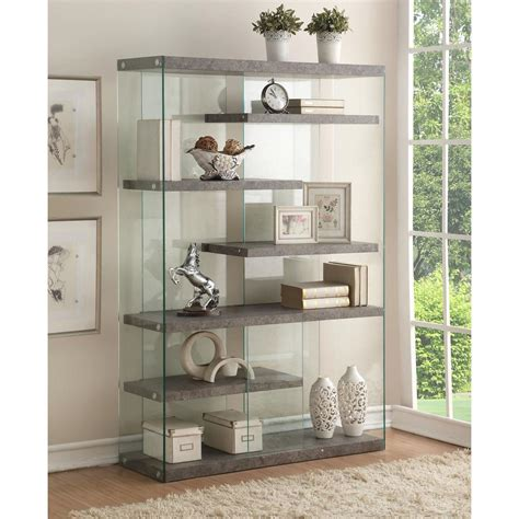 Bookcase With Glass Shelves by Acme Furniture Boyd 6 Shelves Clear Glass Bookcase 1 Set
