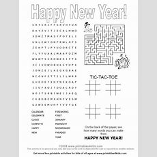 Happy New Years 4in1 Printable Activity Games Page  Printables For Kids  Free Word Search