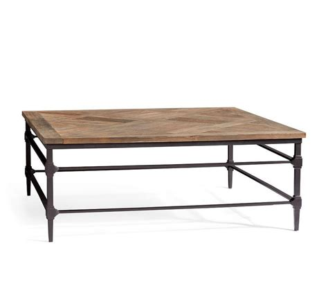 15.75 h x 43 w x 24 d. Parquet Reclaimed Wood Square Coffee Table   Pottery Barn Canada