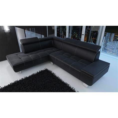 canapé d angle noir simili cuir canapé d 39 angle moderne daylon simili cuir noir et coutures