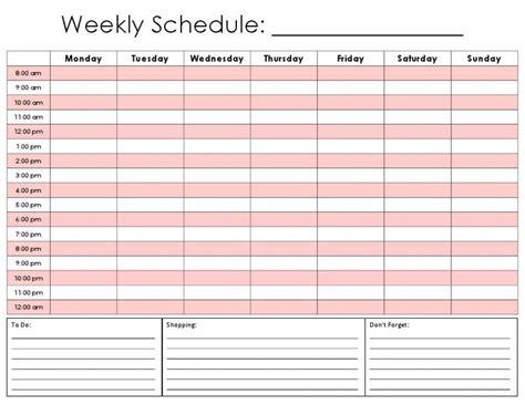 weekly schedule template printable weekly calendar by hour template calendar templates