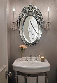 powder room mirror Gray French Powder Room with Oval Venetian Mirror - French ...