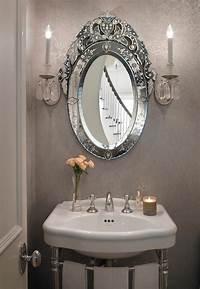 powder room mirror Gray French Powder Room with Oval Venetian Mirror - French - Bathroom