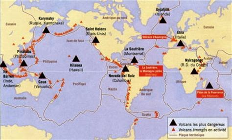 Carte Des Volcans Actifs Dans Le Monde by Carte Volcans Actifs Monde My