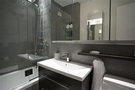 Surprising Small Space Grey Bathroom With Single Sink Vanity Added Walk In Shower As Decorate In