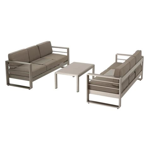 Metal Outdoor Loveseat by Cape Coral 3pc Metal Patio Sofa Set W Cushions Khaki