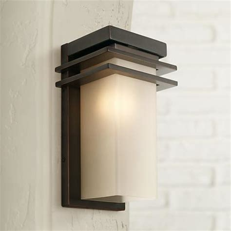 bronze and opal 12 quot high rectangle outdoor wall light