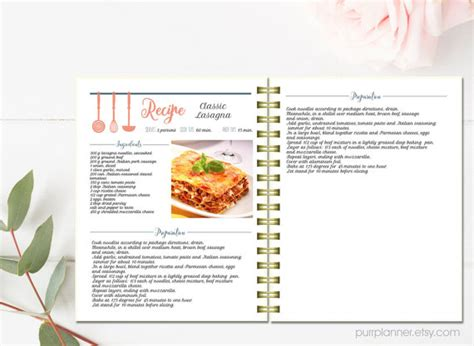 classeur recette cuisine editable cook book recipe template recipe pages by purrplanner