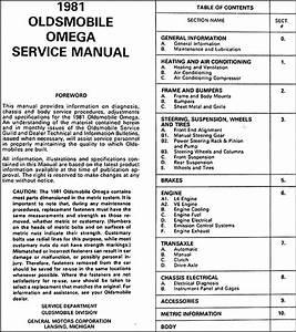 1981 Oldsmobile Omega Repair Shop Manual Original