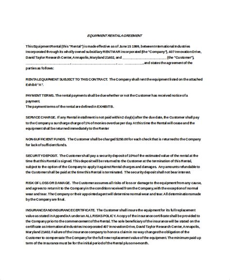Product Rental Agreement Template by 21 Equipment Rental Agreement Templates Free Sle