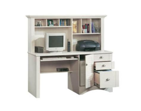 Menards Sauder Computer Desk by Sauder Harbor View Antiqued White Computer Desk With Hutch