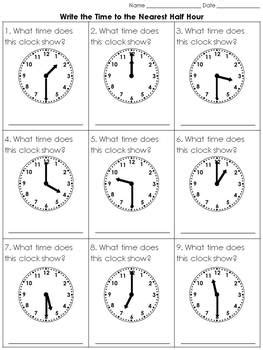 time write  time   nearest  hour practice