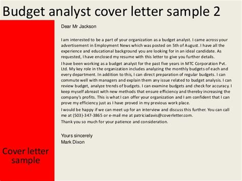 Budget Analyst Cover Letter by Budget Analyst Cover Letter