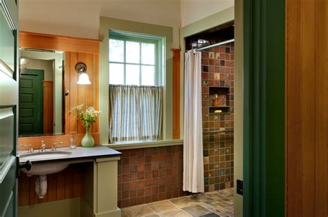beautiful rustic bathroom green painted wood decoratively