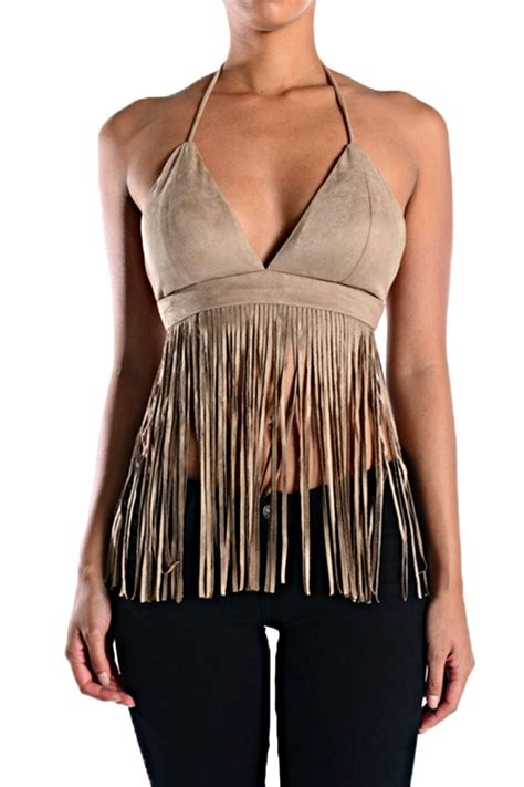 black decorative pillows branded suede fringe halter from san diego shoptiques