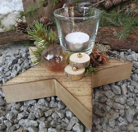 Holzstern Gesteck Mit Teelicht Rose Gold Natur Weihnachten