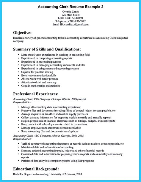 Your resume objective should outline any previous work experience in accounting as well as any responsibilities relevant to the position you're hoping to land. Sample for Writing an Accounting Resume