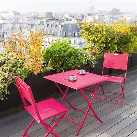 table et chaise de balcon table de balcon pliante carrée azua cerise hespéride 2 places