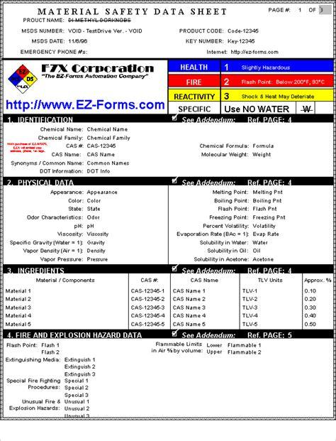 msds ez forms msds material safety data sheet tm