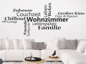 Wandtattoo Wortwolke Wohnzimmer Wandtattoosde