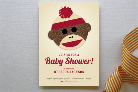 sock monkey baby shower invitations  jessie steu minted