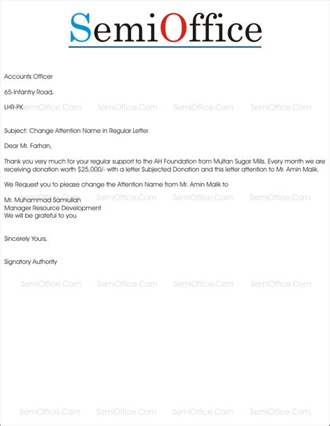 request letter  change attention