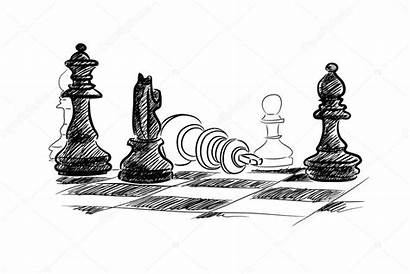 Chess Sketch Pieces Ajedrez Scacchi Drawing Schach