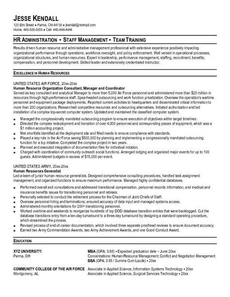 army officer curriculum vitae exle human resources conversion resume free sle
