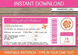 Luau Boarding Pass Invitations Party Decorations
