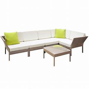 Rattan Lounge Set : stackable 6 pcs brown wicker rattan 5 seater outdoor lounge set beige ~ Orissabook.com Haus und Dekorationen