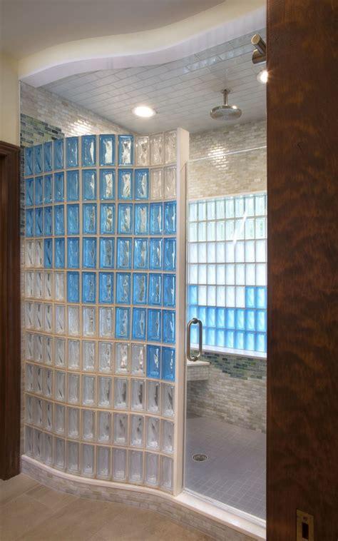 glass block shower bathroom renovation  seves