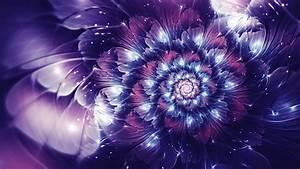 Wallpaper, Digital, Art, Abstract, Purple, Glowing, Fractal, Flowers, Flower, Plant, Petal