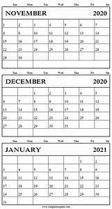 Free Blank Calendar November December 2020 January 2021