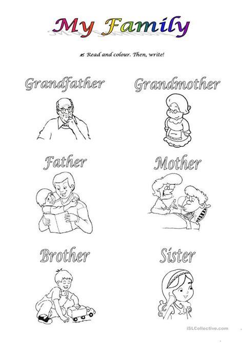 sor  sl family worksheet kindergarten worksheets