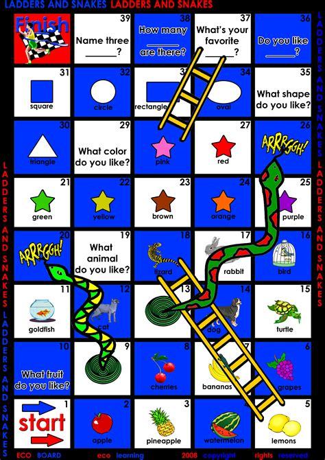 esl printable printable 360 degree 257 | esl games printable ladders and snakes