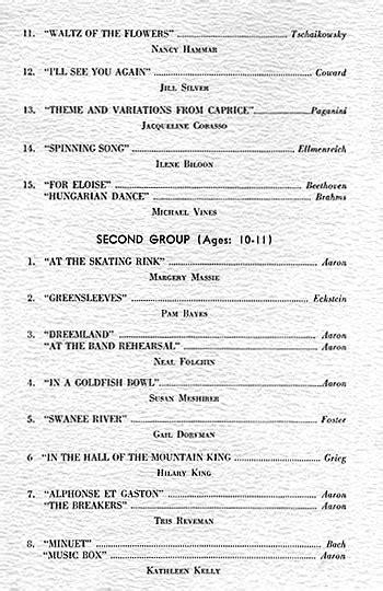 piano recital program piano recital 1962