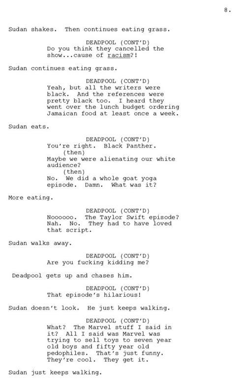 donald glover deadpool script pages brilliantly mock