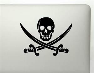 Pirate skull with crossed swords die cut vinyl decal sticker