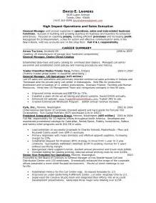 general manager sle resume resume sales person
