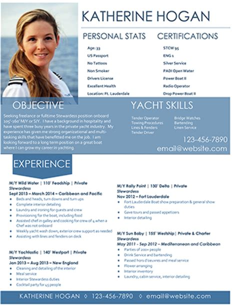 yacht resume