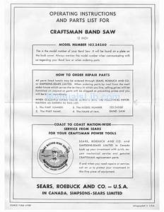 Craftsman 103 24260 Operating Instructions And Parts List
