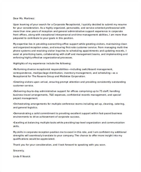 9 receptionist application letters free word pdf