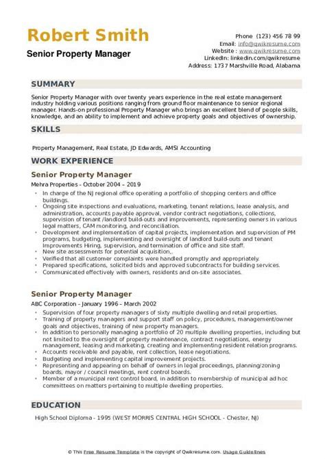 senior property manager resume samples qwikresume